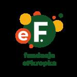 Logo Fundacji eFkropka – eF na tle kółek