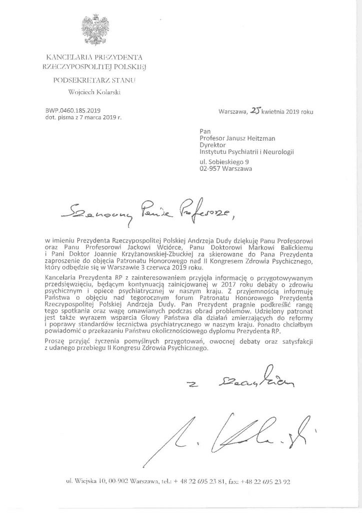 Dokument patronatu prezydenta
